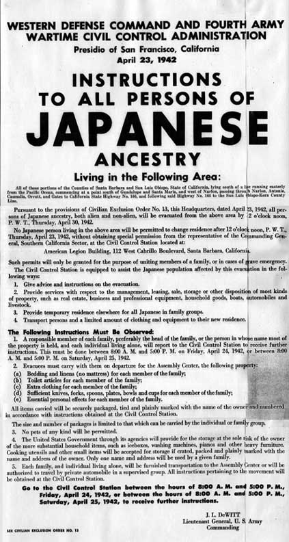 Garvey, jean instructions to all persons of japanese ancestry.